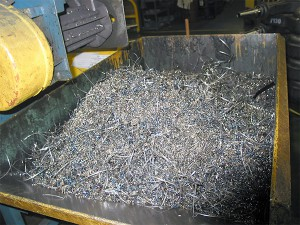 metal waste in bin