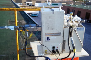 stack sampling equipment on a rooftop